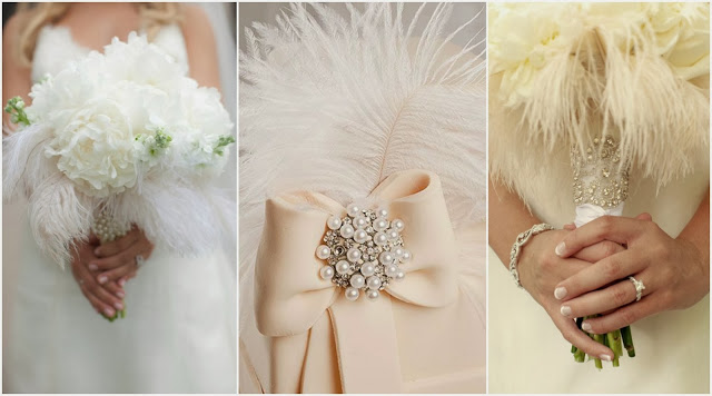 feather bouquet wedding